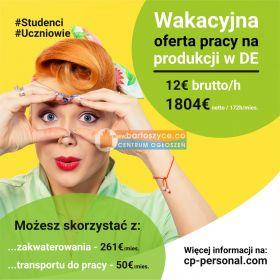!! Praca dla studentów/uczniów na okres wakacji